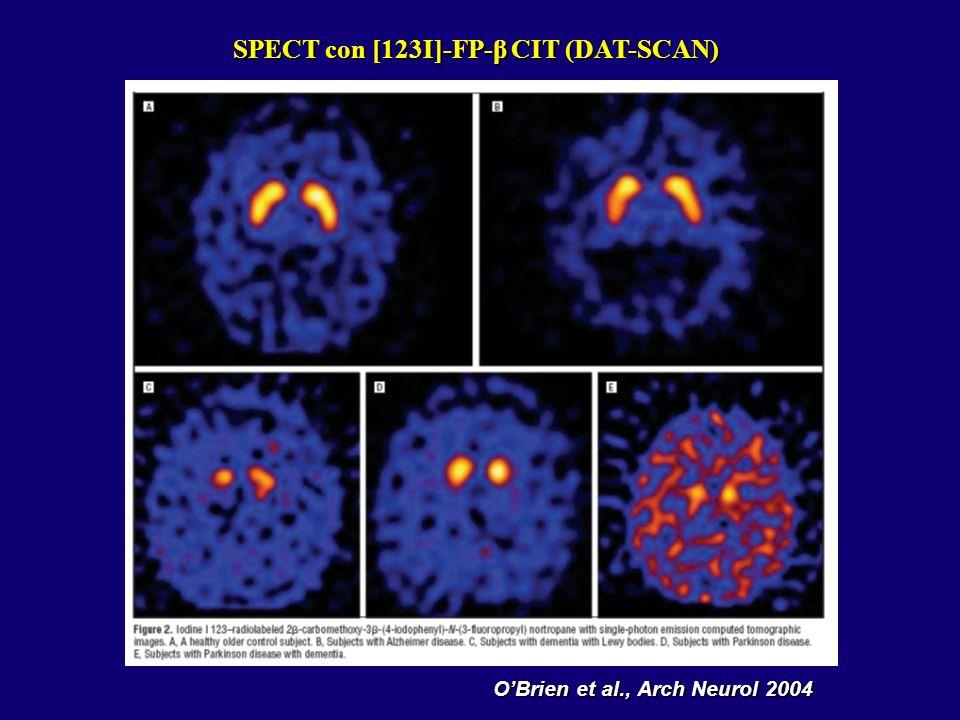 SPECT con [123I]-FP-β CIT (DAT-SCAN) O'Brien et al., Arch Neurol 2004